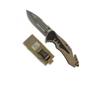 Couteau pliant automatique tactique K25 G10 Coyote 18318 Clip Lame 8.7 cm